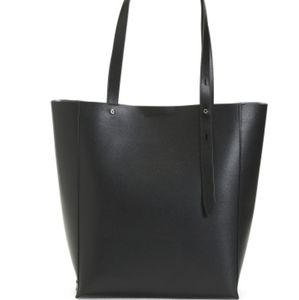 Stella smooth leather tote with front pocket